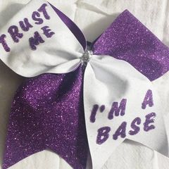 CHEER BOW - TRUST ME IM A BASE ( PURPLE & WHITE )