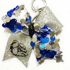 CHEER BOW KEYCHAIN - BULLDOG Half Royal Blue, Silver Sequins / Have Silver Crackle with Black Glitter Bulldog