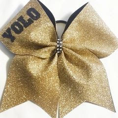 CHEER BOW - YOLO ( gold glitter )