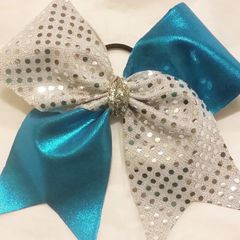 CHEER BOW - SILVER SEQUINS / AQUA BLUE METALLIC CHEER BOW