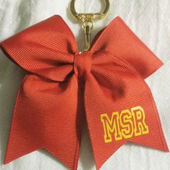CHEER BOW - PLAIN GROSGRAIN CHEER BOW KEYCHAIN with TEAM INITIALS (More photos)