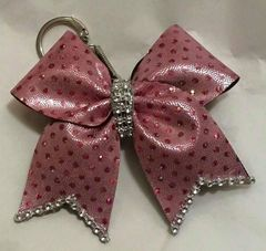 CHEER BOW KEYCHAIN - PINK with PINK HOLOGRAM DOTS with RHINESTONE CENTER & EDGES BULK RATES/ORDERS available