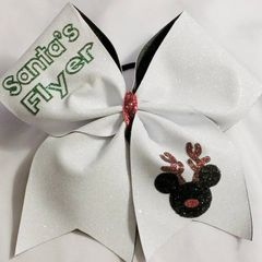 SANTA's FLYER CHEER BOW - WHITE GLITTER