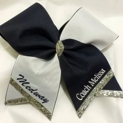 HALF & HALF TEAM CHEER BOW - Pick your colors ADD A NAME/TEAM (extra cost below)