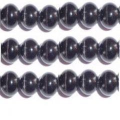 CATS EYE GLASS BEADS 8MM - BLACK