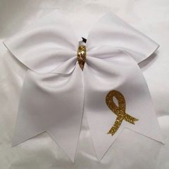 CHEER BOW - GOLD AWARENESS RIBBON - CHILDHOOD CANCER AWARENESS