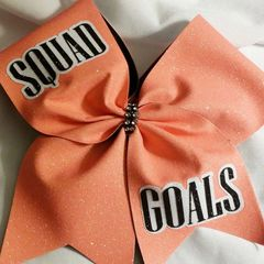 CHEER BOW - SQUAD GOALS CORAL GLITTER