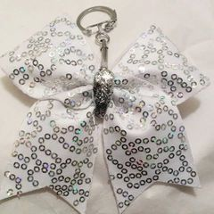 KEYCHAIN - WHITE with SILVER SQUIGGLE SEQUINS CHEER BOW KEYCHAIN