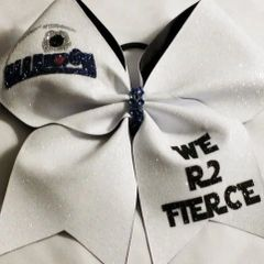 CHEER BOW - WE R2 FIERCE White Glitter Themed