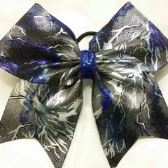 CHEER BOW - BLUE SILVER BLACK LIGHTINING FULL