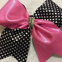 CHEER BOW - PINK METALLIC / BLACK with SILVER HOLOGRAM POLKADOTS