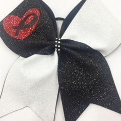 CHEER BOW - VALENTINE RED HEART with XO Hugs & Kisses ( love gift )