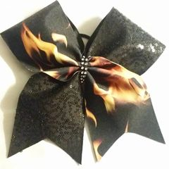 CHEER BOW - FIRE / BLACK SQUIGGLE SEQUINS