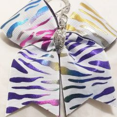 MULTI COLOR METALLIC ZEBRA CHEER BOW KEYCHAIN