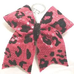 CHEER BOW KEYCHAIN -RED & BLACK SEQUINS CHEETAH CHEER BOW KEYCHAIN