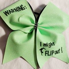 CHEER BOWS - WARNING - I might flip out Glitter