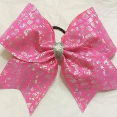 PINK HOLOGRAM BOXES CHEER BOW ( silver center)