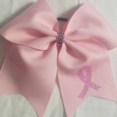 CHEER BOW - PINK BREAST CANCER AWARENESS PLAIN GROSGRAIN with LIGHT PINK RIBBON