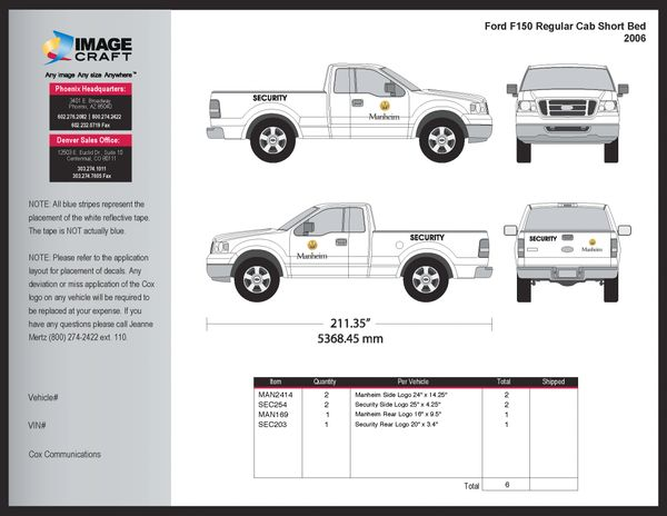 Ford F150 Regular Cab, SB 2006 - Manheim - Complete Kit
