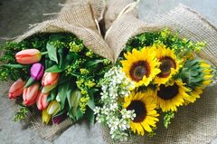 Burlap Wrapped Seasonal Bouquet[s]