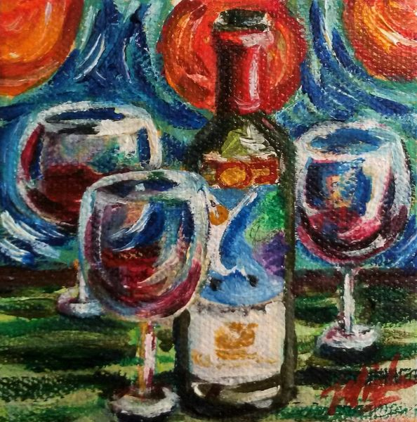 """""""3 Wine Glasses Not a Crowd"""" SOLD"""