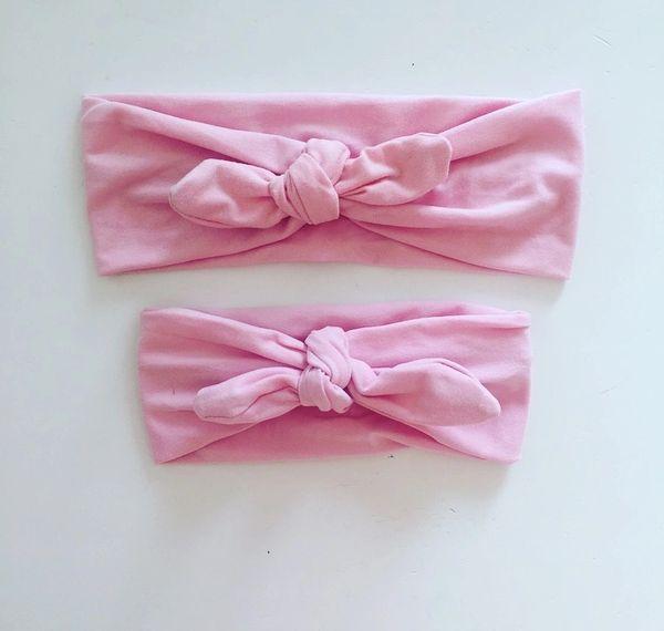 Baby Pink Mum   Me Tie knot Headband Set  944954bf0b4