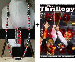 Men's 41 inch necklace, 3 stretchy bracelets, a copy of The Thrillogy