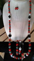 Red, White, Black and Gray Necklace only