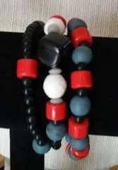 Red, White, Blue, Black Bracelet Trio