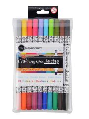 Double Ended CalliCreative Duo Tip 2 Colour Italic Chisel Pens 10pc