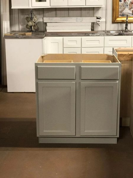 Shaker White, Tusk or Gray Base cabinet 33w x 24d x 34.5h (Local Pickup Only)