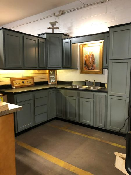 A Farm House Green/Gray Shaker kitchen