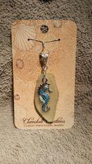 Yellow Sea Glass Pendant with Blue Sea Horse