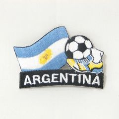 "ARGENTINA FIFA SOCCER WORLD CUP , KICK COUNTRY FLAG EMBROIDERED IRON ON PATCH CREST BADGE .. SIZE : 2"" x 1.75"" INCHES .. NEW"