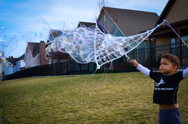 55-Section (purple) Net & 3-Foot (blue) String Wands & (1) Bubble Kit