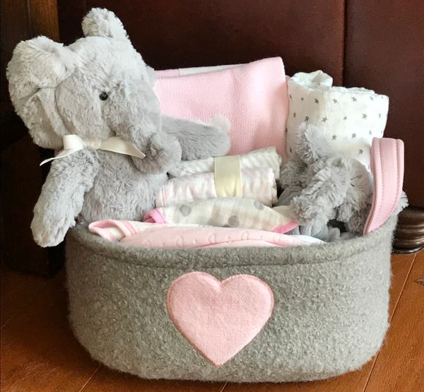 Elephant baby gift basket five brown monkies custom baby gift baskets addison elephant baby gift basket sold negle Images