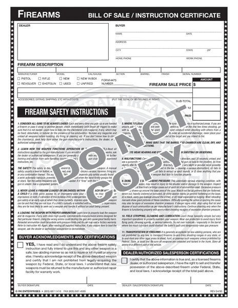 Bill of Sale / Instruction Certificate 8 1/2 x 11 Pad of 80   RK ...
