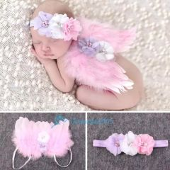 Heavenly Angel Baby Photo Props ~ Feather Wings with headband set