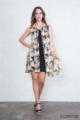 Simply Noelle Sheer Floral Sleeveless Vest