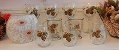 Sandra Soucy Hand painted stemware ~ Fall Collection ~ Pinecones