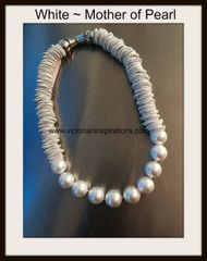 Sea Lily Piano Wire Necklace with Multi Pearls ~
