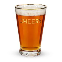 """""""Twine"""" Rustic Farmhouse Gold Rimmed Cheers Pint Glass (4)"""