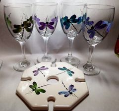 Sandra Soucy Hand painted stemware ~ Dragonfly