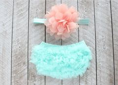 Heavenly Angel Infant Photo Props ~ Ruffled Lace Bloomers with headband set
