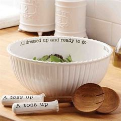 "Mud Pie ~ Circa Salad Bowl & Servers ~ ""All dressed up and ready to go"""