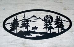 Trees with moon Wall Art 20'' Oval