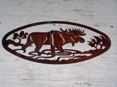 Moose 20'' Oval Wall Art