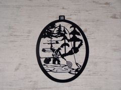 Fly Fisherman with Trees Welcome Door Hanger