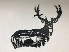 Elk Body with Cabin Scene