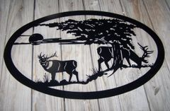 "Two Elk 32"" Oval Wall Art"